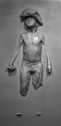 Panel Boy Soldier (Grey Prismatic) by Schoony contemporary artwork sculpture