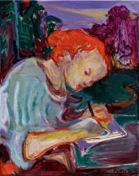 Girl Writing by Rao Fu contemporary artwork painting, works on paper