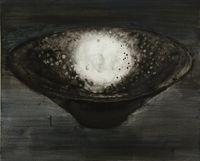 Black-Glazed Tray with Oil-Drop Pattern by Shi Zhiying contemporary artwork painting