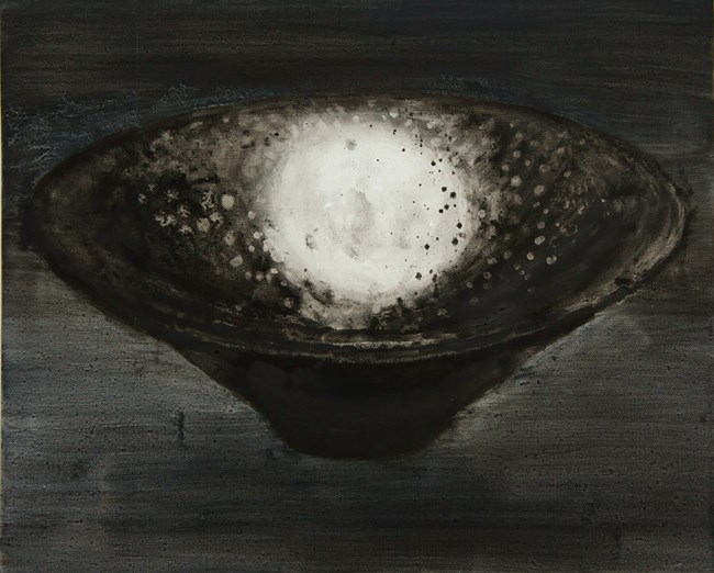 Black-Glazed Tray with Oil-Drop Pattern by Shi Zhiying contemporary artwork