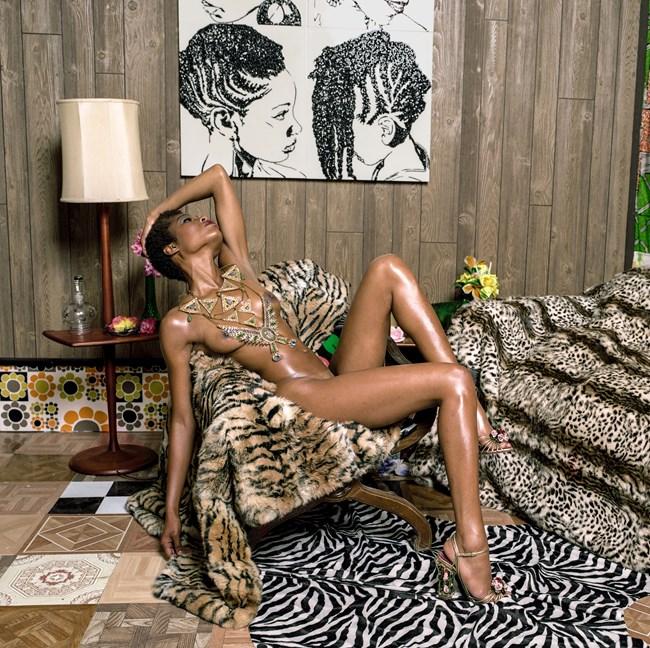 Liz and Chair with Zebra by Mickalene Thomas contemporary artwork