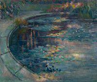 Le bassin aux nymphéas au jardin des plantes à Rouen by Robert Antoine Pinchon contemporary artwork painting, works on paper