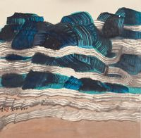 High Mountains and Long White Clouds by Chu Ko contemporary artwork painting, works on paper