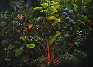 Red chard and dahilas by Helena Parada Kim contemporary artwork