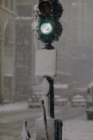 Green Light Against Grey, New York by Saul Leiter contemporary artwork