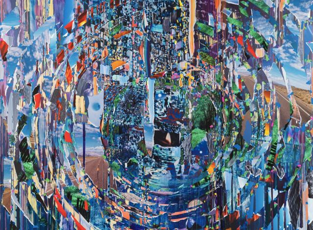 Sarah Sze, Ripple (Times Zero) (2020) (detail). Oil, acrylic, acrylic polymers, ink, aluminium, archival paper, oil stick, pencil, graphite, string, pushpin, diabond, and wood. 114 x 142 1/2 inches / 289.6 x 362 cm. © Sarah Sze. Courtesy Gagosian. Photo: Rob McKeever.