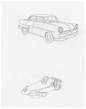 """1953 Ford Customline / 1953 Jaguar XK120 Coupé"" by Mayo Thompson contemporary artwork"