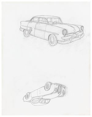 1953 Ford Customline / 1953 Jaguar XK120 Coupé by Mayo Thompson contemporary artwork