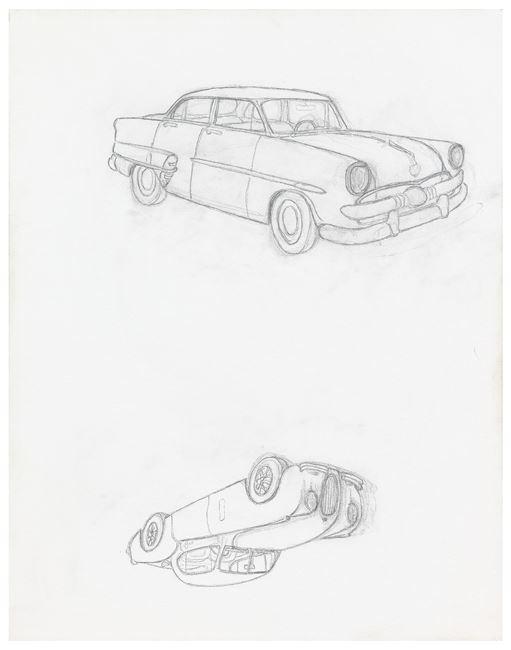 """1953 Ford Customline / 1953 Jaguar XK120 Coupé"" by Mayo Thompson contemporary artwork"