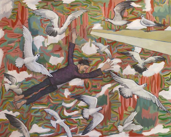 Liu Yu, Insomniac: The Blackbird Flies Back to Yunnan. Oil on canvas. 200 x 250 cm.