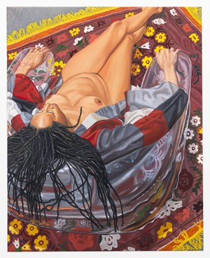 Model with Kimono on Clear Plastic Chair with Floral Rug by Philip Pearlstein contemporary artwork