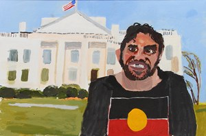 Self-Portrait (The White House) by Vincent Namatjira contemporary artwork