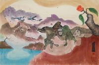 Untitled (Fantasy Landscape with Seabirds, Animals and Rose) 《無題》(海禽與動物的奇幻風景) by Luis Chan contemporary artwork works on paper