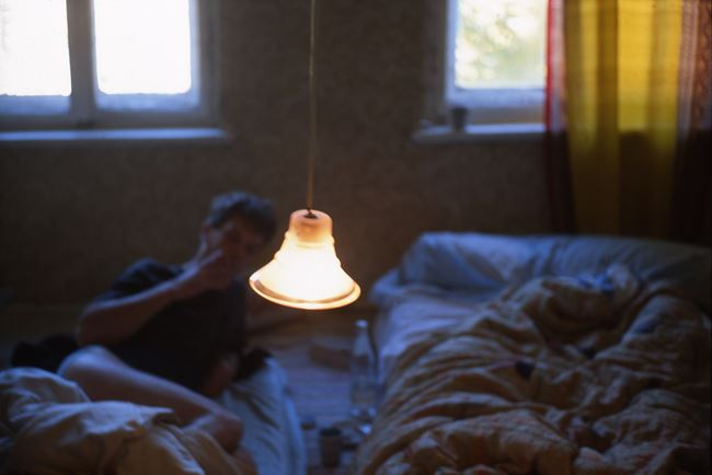 David in bed, Leipzig, Germany by Nan Goldin contemporary artwork