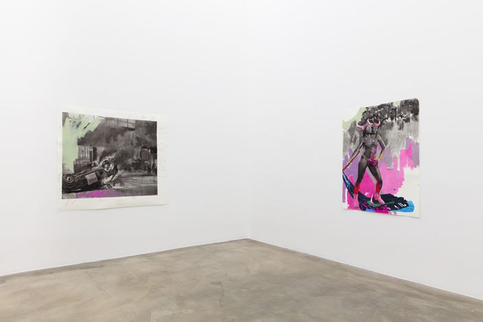 Exhibition view: Cosmo Whyte,When They Aren't Looking We Gather By The River,Anat Ebgi, Culver City, Los Angeles (7 November–9 January 2021). Courtesy Anat Ebgi.
