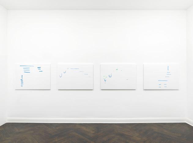 Michael Krebber, ohne Titel (Wirklichkeit erschlägt Kunst) 19 (2019). Exhibition view: Michael Krebber,Wirklichkeit erschlägt Kunst, Galerie Buchholz, Berlin (26 April–15 June 2019). Courtesy Galerie Buchholz.
