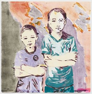 Tegyu and Terrin (pale) by Claire Tabouret contemporary artwork