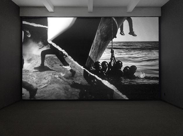 Robert Longo, Icarus Rising (2018). Exhibition view: Robert Longo,Amerika, Metro Pictures, New York (25 April–25 May 2019). Courtesy Metro Pictures.