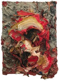 Small Self-Portrait in Red and Grey 2 紅灰⼩小幅⾃自畫像2 by Antony Micallef contemporary artwork painting