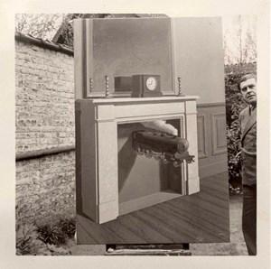 """René Magritte et """"La Durée Poignardée"""" (1938), Bruxelles by René Magritte contemporary artwork"""