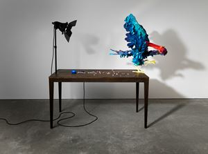 A Thief Caught in the Act (Blue with Magenta Beak) by Nathalie Djurberg & Hans Berg contemporary artwork
