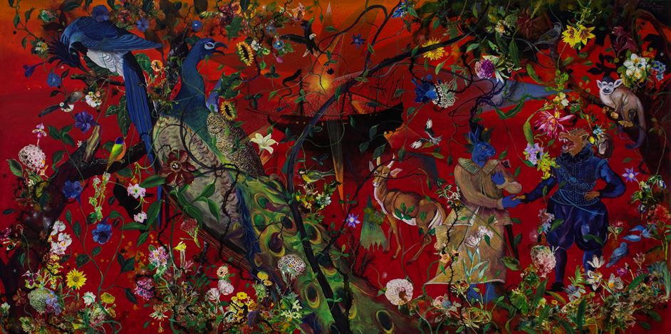 Priyantha Udagedara, Serendib 10, Mixed Media on Canvas, 122cm x 245cm. Courtesy Saskia Fernando Gallery.