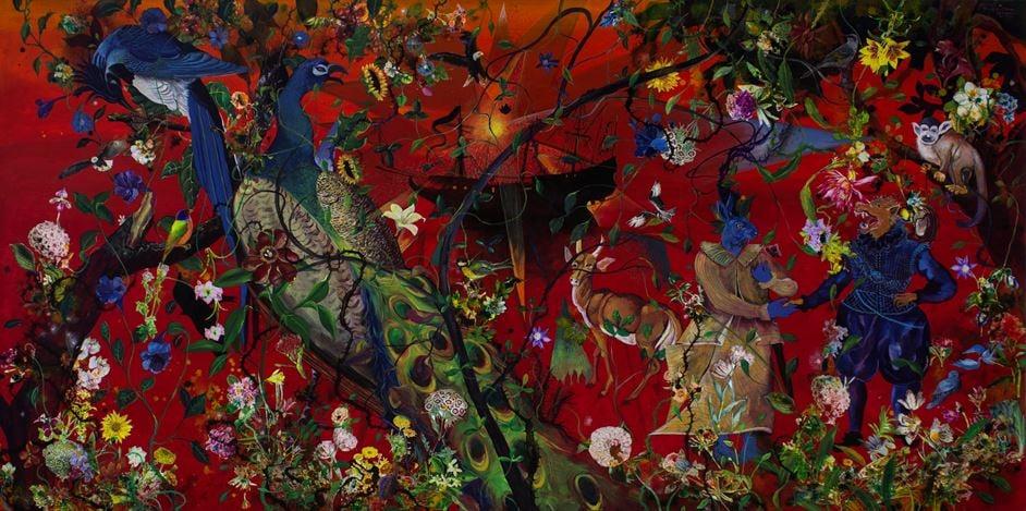 Priyantha Udagedara,Serendib 10,Mixed Media on Canvas, 122cm x 245cm. Courtesy Saskia Fernando Gallery.