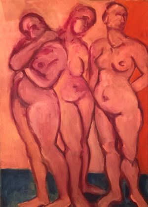 Three standing women by Kalliopi Lemos contemporary artwork