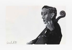 Cellist by Lenz Geerk contemporary artwork painting, works on paper