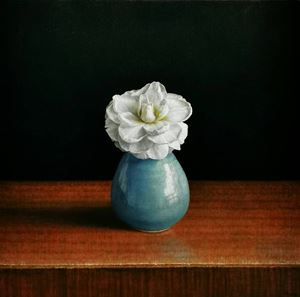 A White Camellia in a Kyoto Vase by Tzu-Chi Yeh contemporary artwork