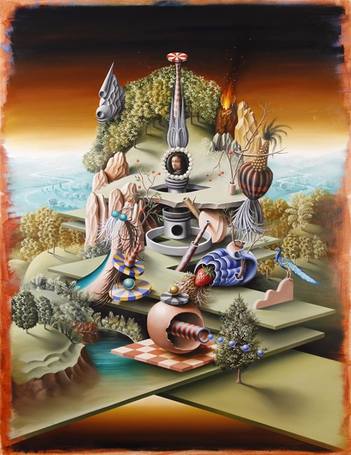 Philobarbaros and his garden of whimsical delights after Bosch by Peter Daverington contemporary artwork