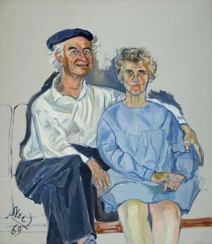 Linus and Ava Helen Pauling by Alice Neel contemporary artwork painting