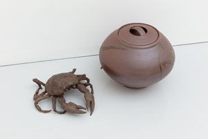 Big Crab and Monkey Moon Brown Urn by Francis Upritchard contemporary artwork