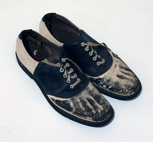 Untitled Saddle Shoes with Photographic Feet by Keith A. Smith contemporary artwork mixed media