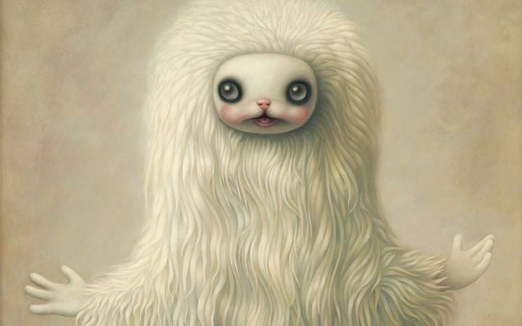 Mark Ryden, God Yak (#138) (2019) (detail). Oil on canvas and hand-carved wood frame. 137.2 x 127 x 6.7 cm. Courtesy the Artist, Perrotin and Kasmin.