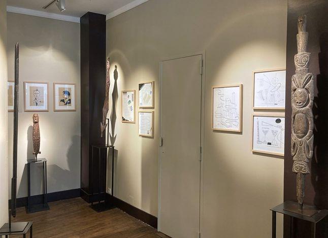 Exhibition view: Serge Dubuc, Métagraphies,Galerie Meyer - Oceanic & Eskimo Art, Paris (27 May–26 June 2021). Courtesy Galerie Meyer - Oceanic & Eskimo Art.