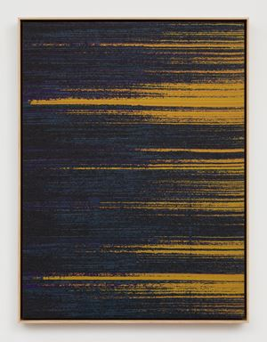 Negative Entropy (Stripe International Inc., Accounting Department, Purple, Orange, Single) by Mika Tajima contemporary artwork