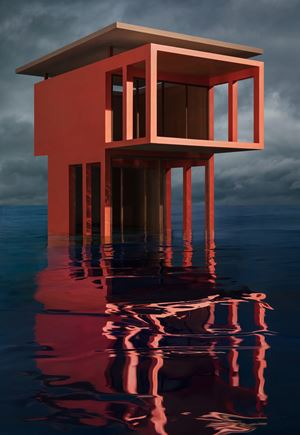 Red/Orange Solo Pavilion by James Casebere contemporary artwork