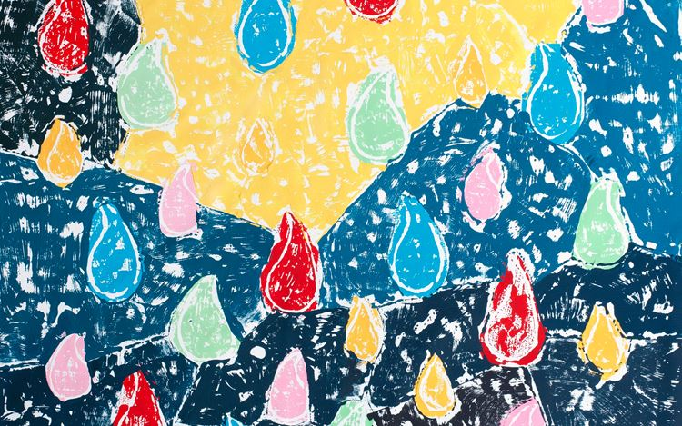 Olaf Breuning, Color Rain (2020) (detail). Gesso and acrylic on canvas. 198.1 x 146.1 cm. Courtesy Metro Pictures, New York.