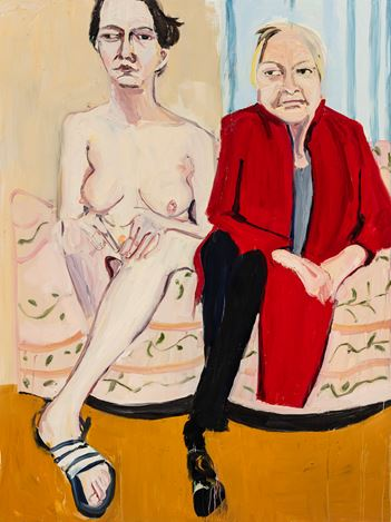 Chantal Joffe, Self-Portrait Naked with My Mother I (2020). Oil on board. 243 x 181.5 cm. © Chantal Joffe. Courtesy the artist and Victoria Miro.