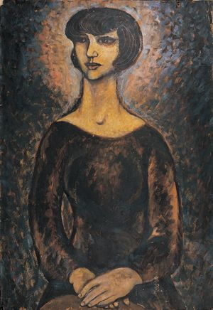 A Female Portrait in Night Sky by Mao Xuhui contemporary artwork