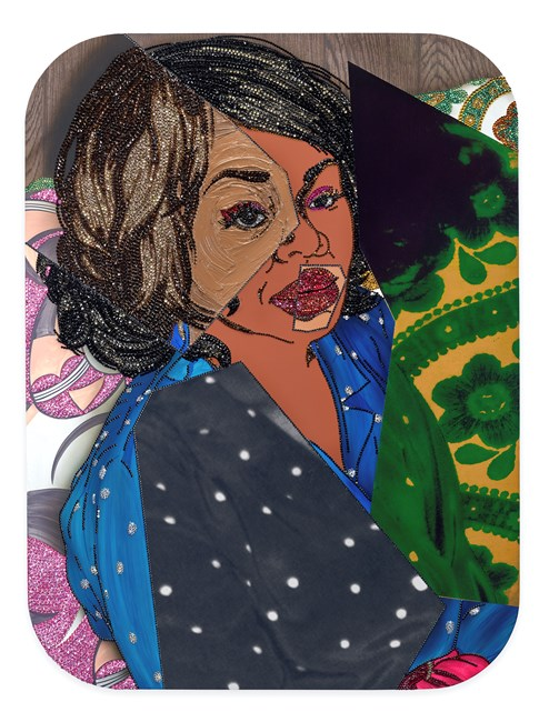 Portrait of Din #3 by Mickalene Thomas contemporary artwork