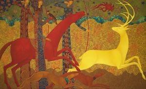 Golden Deer Chase by Timur D'Vatz contemporary artwork