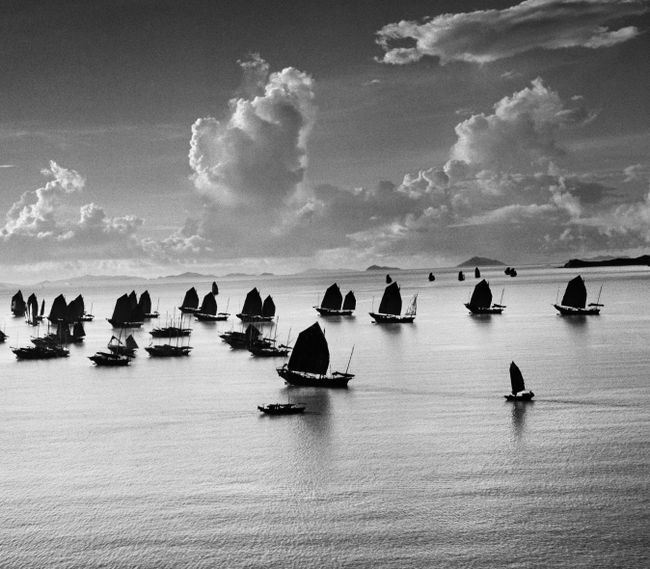 Junks in the Harbour of Kowloon, Hong Kong, 1952 by Werner Bischof contemporary artwork