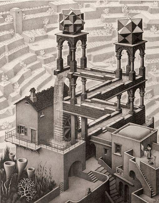 Waterfall by M.C. Escher contemporary artwork