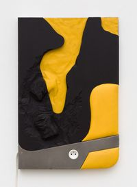 Cans on yellow and black by Neïl Beloufa contemporary artwork sculpture