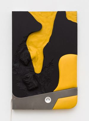 Cans on yellow and black by Neïl Beloufa contemporary artwork