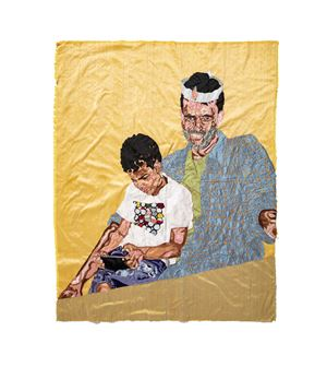 Father and Child by Billie Zangewa contemporary artwork