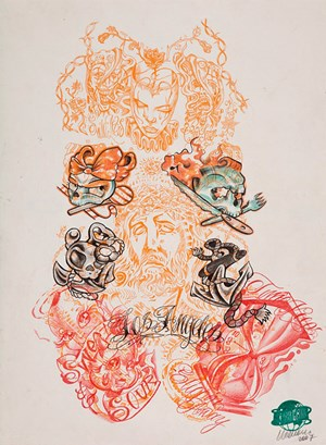 Untitled (Tattoo drawing #2) by Wim Delvoye contemporary artwork