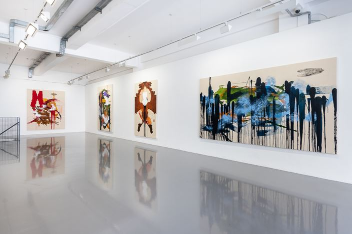 Exhibition view: Elizabeth Neel, Nightjars and Allies, Pilar Corrias, London (30 May–29 June 2019). Courtesy Pilar Corrias.